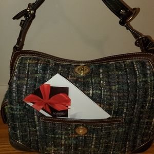 Coach  Chelsea tweed boucle handbag plaid purse
